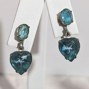 Vintage Silver & Blue Heart Rhinestone Earrings